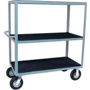 "Vinyl Matted Three Shelf Cart w/ 8"" Pneumatic Casters - 36 x 60"