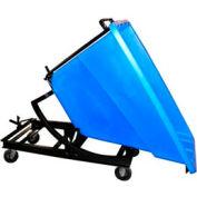 Bayhead Blue Plastic Self-Dumping Forklift Hopper 5/8 Cu Yd with Caster Base