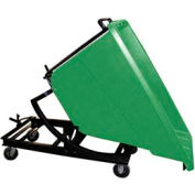 Bayhead Green Plastic Self-Dumping Forklift Hopper 5/8 Cu Yd with Caster Base