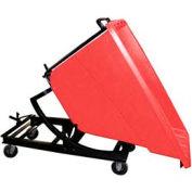 Bayhead Red Plastic Self-Dumping Forklift Hopper 5/8 Cu Yd with Caster Base