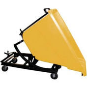 Bayhead Yellow Plastic Self-Dumping Forklift Hopper 5/8 Cu Yd with Caster Base