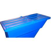 Blue Hinged Lid for Bayhead Products 5/8 Cu Yd Self-Dumping Plastic Hopper