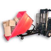 Bayhead Red Plastic Self-Dumping Forklift Hopper 1.1 Cu Yd with Caster Base