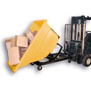 Bayhead Yellow Plastic Self-Dumping Forklift Hopper 1.1 Cu Yd with Caster Base