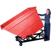 Bayhead Red Plastic Self-Dumping Forklift Hopper 1.7 Cu Yd with Caster Base