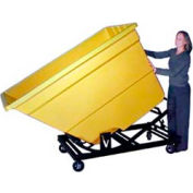 Bayhead Yellow Plastic Self-Dumping Forklift Hopper 1.7 Cu Yd with Caster Base