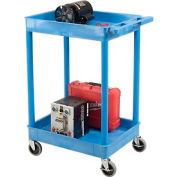 Luxor® BUSTC11BU Blue 2 Shelf Tray Shelf Plastic Cart 24 x 18