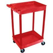 Luxor® RDSTC11RD Red 2 Shelf Tray Shelf Plastic Cart 24 x 18