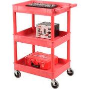 Luxor® RDSTC111RD Red 3 Shelf Tray Shelf Plastic Cart 24 x 18