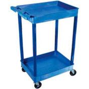 Luxor® BUTC11BU Blue 2 Shelf Tray Shelf Plastic Cart 32 x 24