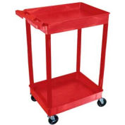 Luxor® RDTC11RD Red 2 Shelf Tray Shelf Plastic Cart 32 x 24