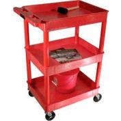 Luxor® RDTC111RD Red 3 Shelf Tray Shelf Plastic Cart 32 x 24