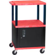 H. Wilson WT42C2 Red Tuffy Garage & Shop Utility Cart with Cabinet 250 Lb. Cap.