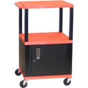 H. Wilson WT42C2 Orange Tuffy Garage & Shop Utility Cart with Cabinet 250 Lb. Cap.