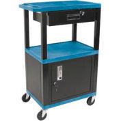 H. Wilson WT42C2-B/WTD Blue Tuffy Garage & Shop Utility Cart with Cabinet & Drawer 250 Lb.