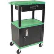 Luxor WT42C2-B/WTD Green Tuffy Garage & Shop Utility Cart with Cabinet & Drawer 250 Lb.