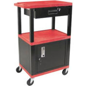 H. Wilson WT42C2-B/WTD Red Tuffy Garage & Shop Utility Cart with Cabinet & Drawer 250 Lb.