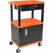 H. Wilson WT42C2-B/WTD Orange Tuffy Garage & Shop Utility Cart with Cabinet & Drawer 250 Lb.