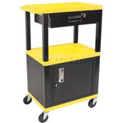 H. Wilson WT42C2-B/WTD Yellow Tuffy Garage & Shop Utility Cart with Cabinet & Drawer 250 Lb.