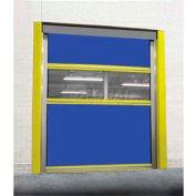 TMI Motorized Roll-Up Dock Door PVC Coated Blue Vinyl Panels & Vision Panel 10x10