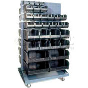 "Quantum QMD-36H-220CO Mobile Double Sided Floor Rack w/ 240 7 3/8"" Conductive Bins, 36x25x72"