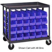 "Quantum QRC-4D-235-24 1/2 Mobile Bin Cart With 24 10-7/8""D Stacking Bins Blue, 36"" x 24"" x 35-1/2"""