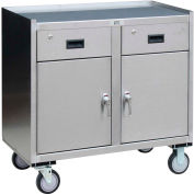 Stainless Steel Mobile Cabinet 2 Doors & 2 Drawers 36x18 1200 Lb.