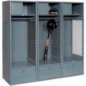 Pucel All Welded 3 Wide Gear Locker With Foot Locker Top Shelf Cabinet 24x18x72 Gray