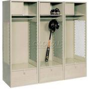 All Welded 3 Wide Gear Locker With Foot Locker Top Shelf Cabinet 24x18x72 Putty