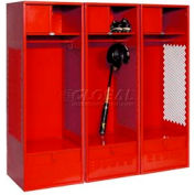 All Welded 3 Wide Gear Locker With Foot Locker Top Shelf Cabinet 24x18x72 Red