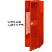 All Welded 3 Wide Gear Locker With Door Foot Locker 24x18x72 Red
