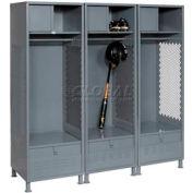All Welded 3 Wide Gear Locker With Foot Locker Top Shelf Cabinet &Legs 24x18x72