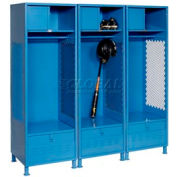 All Welded 3 Wide Gear Locker With Foot Locker Top Shelf Cabinet &Legs 24x18x72