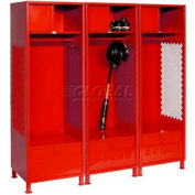 Pucel All Welded 3 Wide Gear Locker With Foot Locker Top Shelf Cabinet &Legs 24x18x72