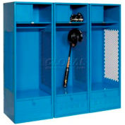 All Welded 3 Wide Gear Locker With Foot Locker Top Shelf Cabinet 24x24x72 Blue