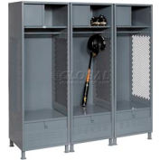 All Welded 3 Wide Gear Locker With Foot Locker Top Shelf Cabinet &Legs 24x24x72