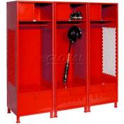 Pucel All Welded 3 Wide Gear Locker With Foot Locker Top Shelf Cabinet &Legs 24x24x72