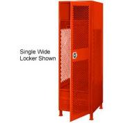 All Welded 3 Wide Gear Locker With Door Foot Locker And Legs 24x24x72 Red