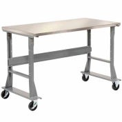 "72""W x 30""D Mobile Workbench - Stainless Steel"