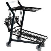 VersaCart® Retractable Flat Top Shelf Shopping Cart Dark Gray 101-580-DGY