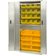 "Pucel Stainless Steel BiFold Door Cabinet BDSC-SS-3678-24 with 24 Yellow Bins 36""Wx24""Dx84""H No Legs"