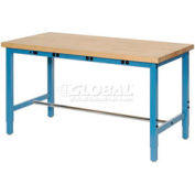 """72""""W x 24""""D Packaging Workbench with Power Apron - Maple Butcher Block Square Edge - Blue"""