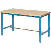 """60""""W x 30""""D Packing Workbench with Power Apron - Maple Butcher Block Safety Edge - Blue"""