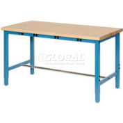 "72""W x 30""D Packaging Workbench with Power Apron - Maple Butcher Block Safety Edge - Blue"