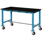 "72""W X 36""D Phenolic Safety Edge Mobile Power Apron Lab Bench, Blue"