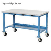 "60""W x 30""D Mobile Packaging Workbench with Power Apron - Plastic Laminate Safety Edge - Blue"