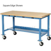 """72""""W x 30""""D Mobile Packing Workbench with Power Apron - Maple Butcher Block Safety Edge - Blue"""