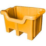 Bayhead MBF-2YELLOW Hopper Front Plastic Container 41x37x32 1000 Lb Cap. Yellow