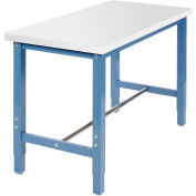 "48""W x 24""D Production Workbench Return - Plastic Laminate Square Edge - Blue"