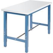 "48""W x 24""D Production Workbench Return - Plastic Laminate Square Edge - Blue"